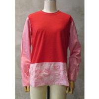 SALE【tricot COMME des GARCONS】綿ローン刺繍×ウール綿天竺製品染Tシャツ