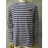 sold out【PLAY COMME des GARCONS】PLAY DUOBLE HEART STRIPED T-SHIRT