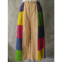 【tricot COMME des GARCONS】綿ギンガムパッチワークプリント製品染パンツ