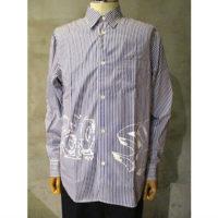 【COMME des GARCONS HOMME】綿ストライプ製品プリントシャツ