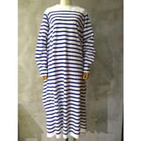 SALE【HYKE】STRIPED LONG-SLV DRESS