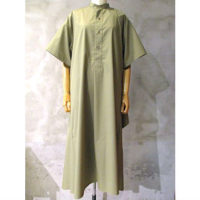 【HYKE】T/C GRANDAD-COLLAR HALF-SLV SHIRT DRESS