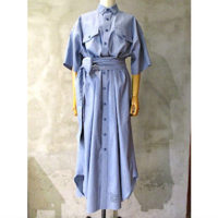 SALE【HYKE】CHAMBRAY SHORT-SLV DRESS