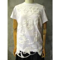 【tricot COMME des GARCONS】綿天竺×テープ刺繍Tシャツ