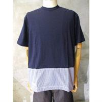 SALE【COMME des GARCONS HOMME】綿天竺×綿ギンガムチェックTシャツ