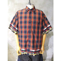 【White Mountaineering】MULTI TARTAN CHECK BIG HALF SLEEVES SHIRT