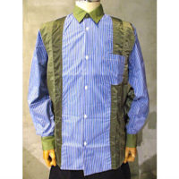 【COMME des GARCONS HOMME】綿ストライプ×多素材MIXシャツ